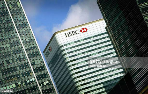 The HSBC building is seen at Canary Wharf March 1, 2004 in London, England. The London-based bank, which operates in 79 countries, gave an upbeat...