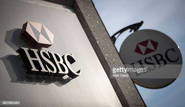 The HSBC logo is seen outside a branch of the bank on January 24, 2017 in Bristol, England. High street lender HSBC has announced it is to close a...