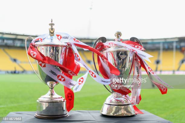 The HSBC Sevens World Series trophies are seen prior to the match between the All Blacks Sevens Black and All Blacks Sevens White at Sky Stadium, on...