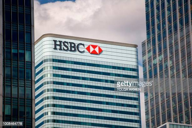 The HSBC UK headquarters are seen at the Canary Wharf financial district of London on July 31 2018 HSBC will publish their halfyear results on August...