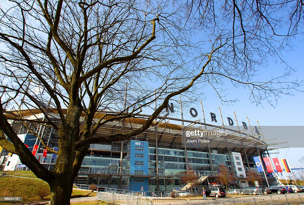 The HSH Nordbank Arena is pictured during the Hamburger SV training session at the HSH Nordbank Arena on March 25, 2010 in Hamburg, Germany.