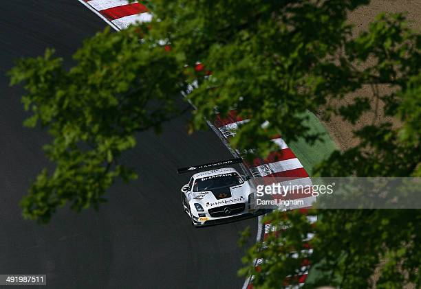 The HTP Motorsport Mercedes SLS AMG GT3 driven by Maximlian Buhk and Maximilian Gotz of Germany during the Blancpain GT Sprint Series race at the...