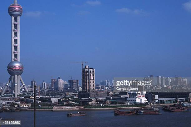 The Huangpu River and the Oriental TV Tower in Pudong Shanghai