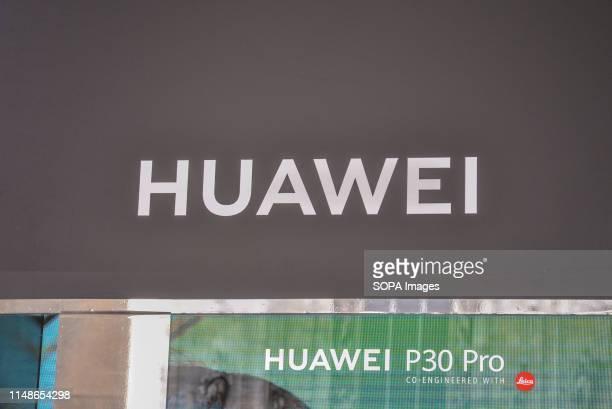 The Huawei logo in Milan.