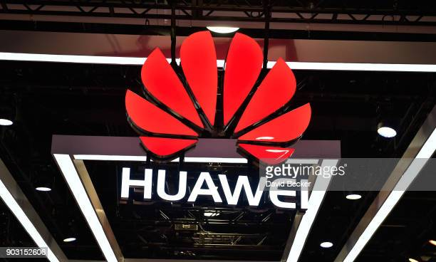 The Huawei logo is display during CES 2018 at the Las Vegas Convention Center on January 9 2018 in Las Vegas Nevada CES the world's largest annual...