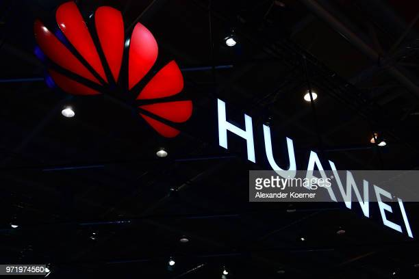 The Huawei logo is displayed at the 2018 CeBIT technology trade fair on June 12 2018 in Hanover Germany The 2018 CeBIT is running from June 1115