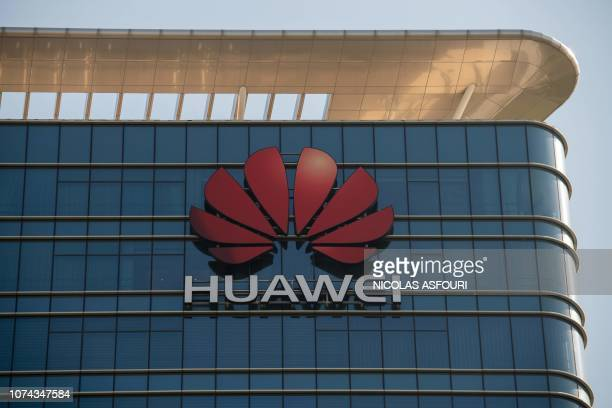 The Huawei logo is seen on a Huawei office building in Dongguan in Chinas southern Guangdong province on December 18 2018