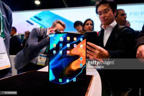 The Huawei Mate X foldable smartphone is displayed January 8, 2020 at the 2020 Consumer Electronics Show in Las Vegas, Nevada.