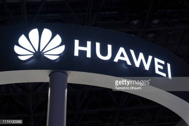 The Huawei Technologies Co logo is seen on the business day of the Tokyo Game Show 2019 at Makuhari Messe on September 12 2019 in Chiba Japan The...