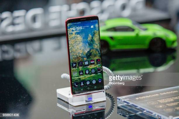 The Huawei Technologies Co P20 Porsche Design smartphone sits on display during the company's unveiling event in Paris France on Tuesday March 27...
