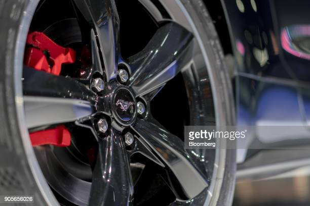 The hubcap of a 2019 Ford Motor Co Mustang Bullitt sports vehicle is seen during the 2018 North American International Auto Show in Detroit Michigan...