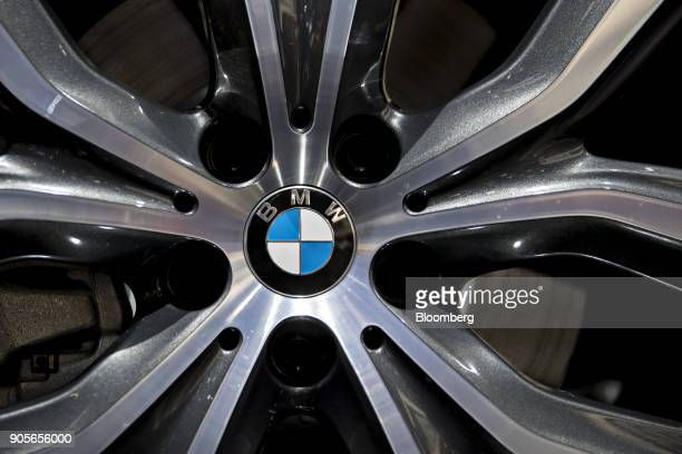 The hubcap of a Bayerische Motoren Werke AG X2 crossover vehicle is seen during the 2018 North American International Auto Show in Detroit Michigan...