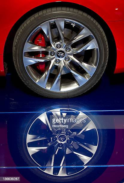 The hubcap of the Hyundai Motor Co Genesis Coupe vehicle is seen during the 2012 North American International Auto Show in Detroit Michigan US on...