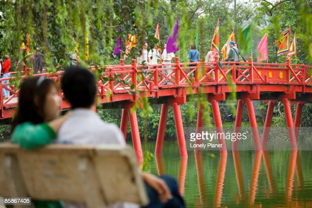 The Huc Bridge on Hoan Kiem Lake.