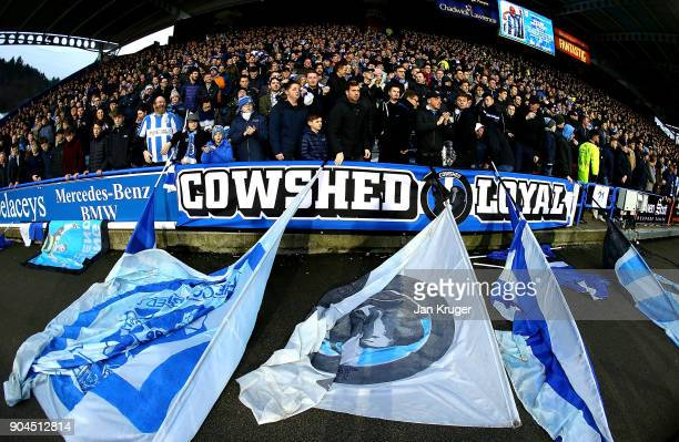 The Huddersfield Town fans surport there team prior to the Premier League match between Huddersfield Town and West Ham United at John Smith's Stadium...