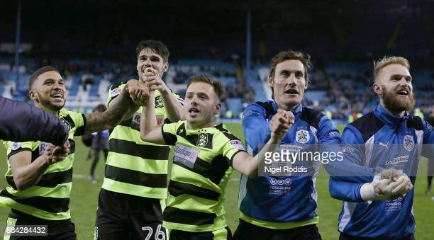 The Huddersield Town team celebrate after the Sky Bet Championship play off semi final second leg match between Sheffield Wednesday and Huddersfield...