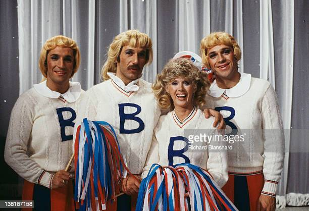 The Hudson Brothers Bill Hudson Brett Hudson and Mark Hudson dressed as cheerleaders for a sketch in the television comedy show 'Bonkers' 1979