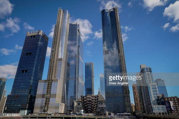 The Hudson Yards development including 'The Vessel' stands on the West Side of Midtown Manhattan March 12 2019 in New York City Phase one of the...