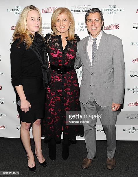 The Huffington Post's Lucy Blodgett Arianna Huffington and Roy Sekoff attend the AOL Young Adult Screening on November 22 2011 in Santa Monica...
