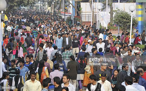 The huge crowd at the India International Trade Fair 2013 at Pragati Maidan on November 23 2013 in New Delhi India The 14day event scheduled from 14...