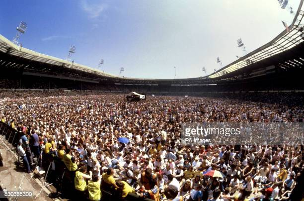 The huge crowd at Wembley Stadium London for the Live Aid concert