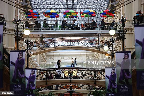 The huge famous and exclusive GUM Shopping Mall on the Red Square on October 14, 2009 in Moscow, Russia. Moscow is the biggest european city with...