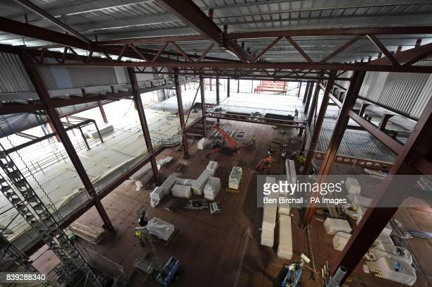 The huge interior with the special steel flooring that uses a new 'plastic sandwich' construction technology where urathane is pressed between steel...