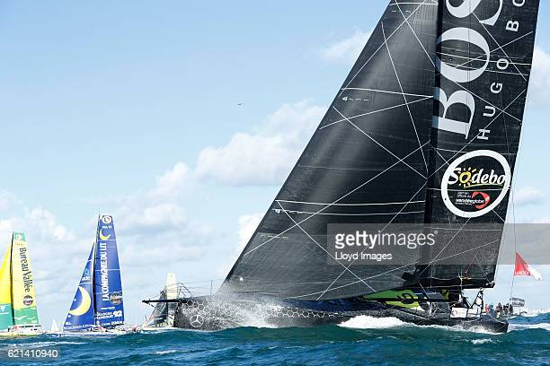 The Hugo Boss IMOCA Open60 race yacht skippered by British yachtsman Alex Thomson starts the solo non stop around the world Vendee Globe yacht race...