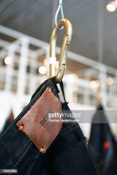"""The """"Hugo Boss"""" logo is seen infront of the annual news conference of Hugo Boss on March 21, 2007 in Metzingen, Germany. Saelzer reported a rise in..."""