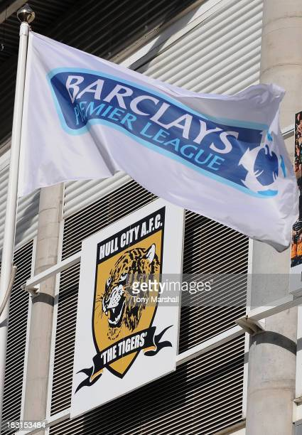 The Hull City AFC Club badge with Barclays flag outside the KC Stadium before the Barclays Premier League match between Hull City and Aston Villa at...