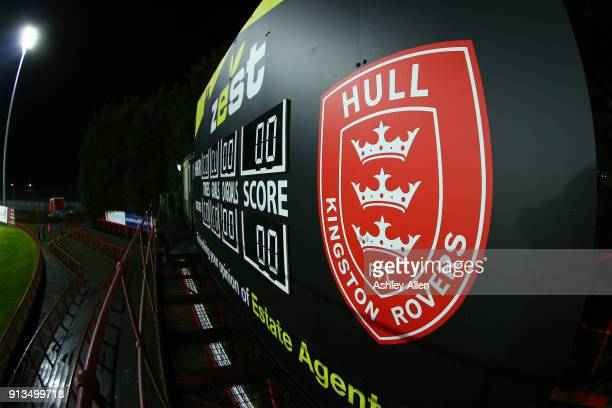The Hull Kingston Rovers logo during the BetFred Super League match between Hull KR and Wakefield Trinity at KCOM Craven Park on February 2 2018 in...
