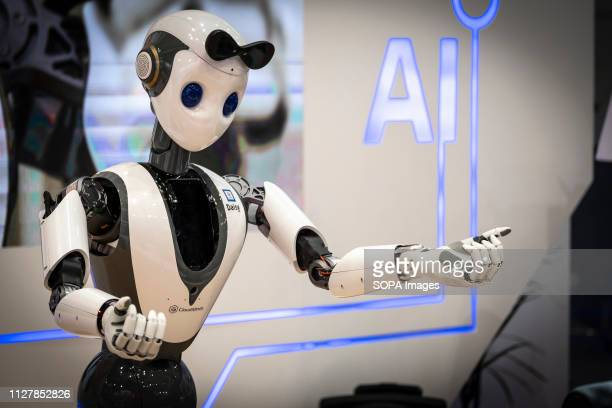 The humanoid robot Daisy of the American company Cloudminds is seen dancing during the MWC2019 The MWC2019 Mobile World Congress opens its doors to...
