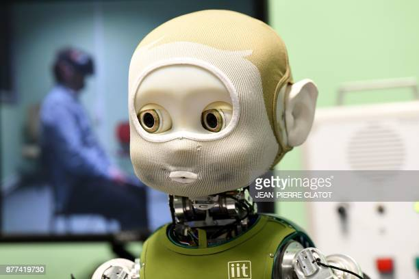 The humanoid robot named Nina is displayed at the GIPSAlab a joint research unit of the CNRS and the University of Grenoble in Grenoble on November...