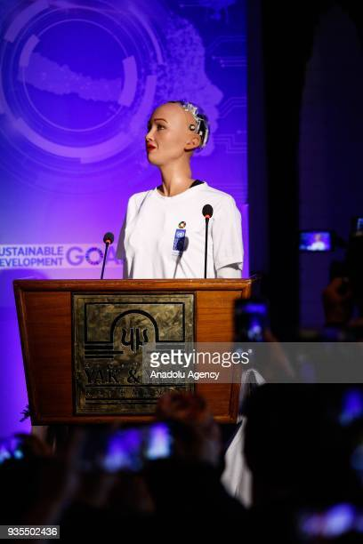 The humanoid Robot Sophia delivers her speech at a conference on using technology for public services during the United Nation's Sustainable...