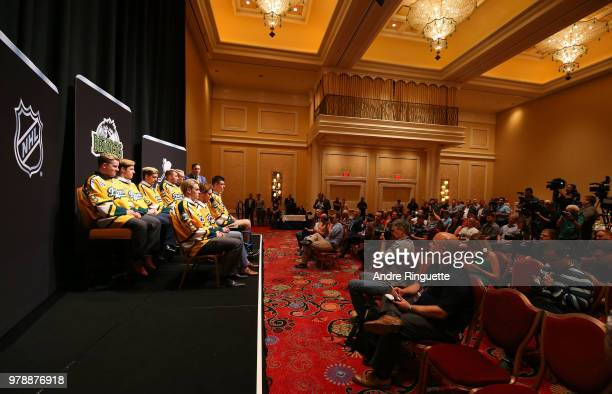 The Humboldt Broncos attend media availability moderated by sportscaster Elliotte Friedman at Wynn Las Vegas on June 19 2018 in Las Vegas Nevada