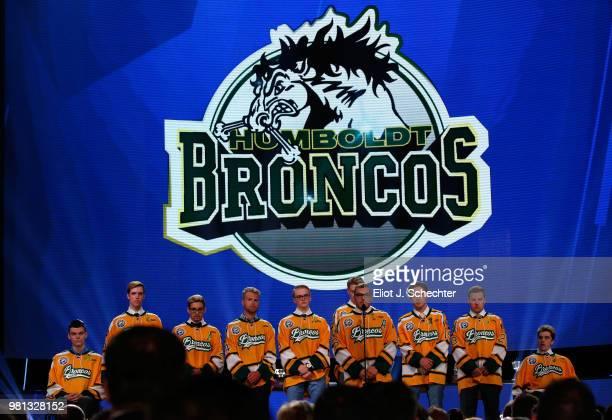 The Humboldt Broncos stand onstage during the 2018 NHL Awards presented by Hulu at The Joint inside the Hard Rock Hotel Casino on June 20 2018 in Las...