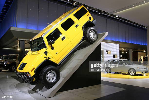 The Hummer H2 sport utility vehicle is displayed at the North American International Auto Show January 6 2004 in Detroit Michigan The show which will...
