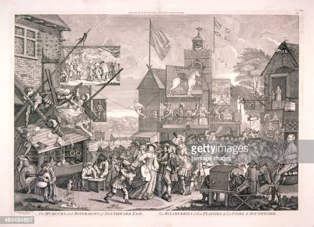 'The humours and diversions of Southwark Fair' 1733 Scene near St George's Church in Borough High Street London plays being performed a ropeflyer...