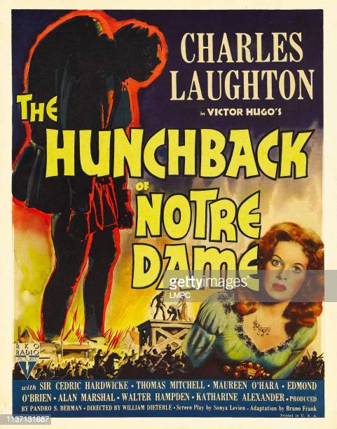The Hunchback Of Notre Dame poster right Maureen O'Hara on window card 1939