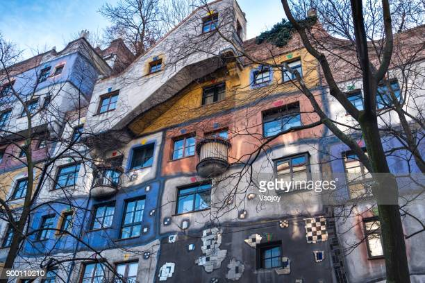 the hundertwasser house in the early winter, vienna, austria - vsojoy stock pictures, royalty-free photos & images