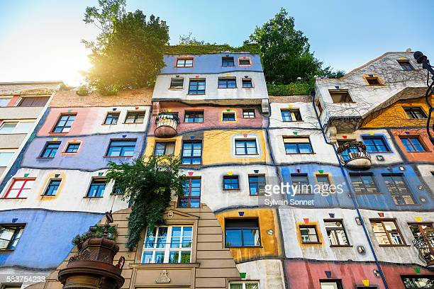 the hundertwasser house in vienna - vienna austria stock pictures, royalty-free photos & images
