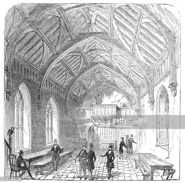 The Hundred Mennes Hall, St. Cross, 1845. Interior showing the the Hundred Men's Hall in the Hospital of St Cross and Almshouse of Noble Poverty, at...