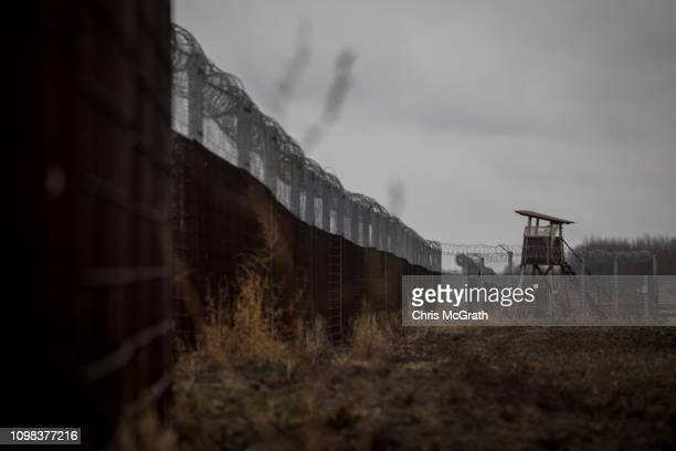 The Hungarian border fence with Serbia is seen on January 18, 2019 outside Szeged, Hungary. In 2015 thousands of migrants massed on the Hungarian...