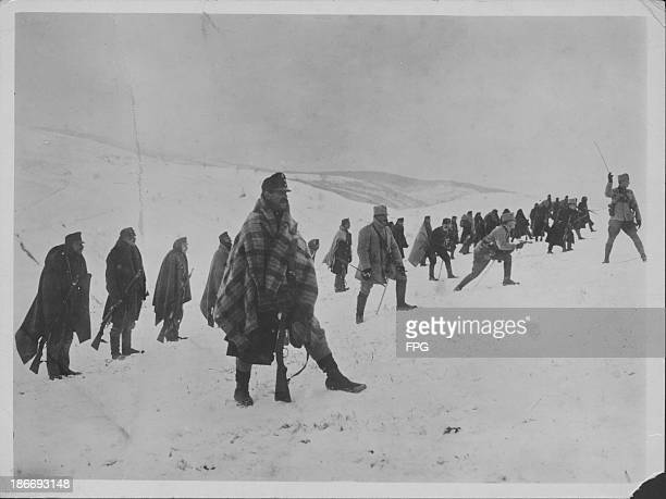 The Hungarian infantry advancing through the Carpathian mountains during World War One Germany circa 19141919