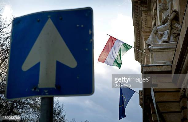 The Hungarian national flag top and the European Union flag fly outside the Magyar Nemzeti Bank Hungary's central bank in Budapest Hungary on...
