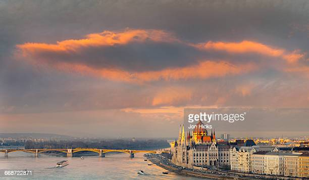The Hungarian Parliament Building at sunset.