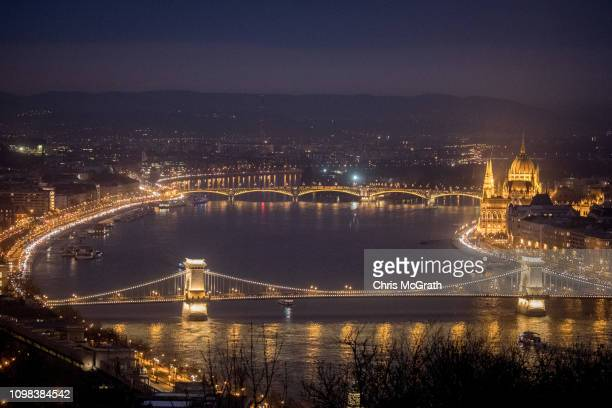 The Hungarian Parliament Building is seen on January 17 2019 in Budapest Hungary The Parliament building has become a site of growing protests over...