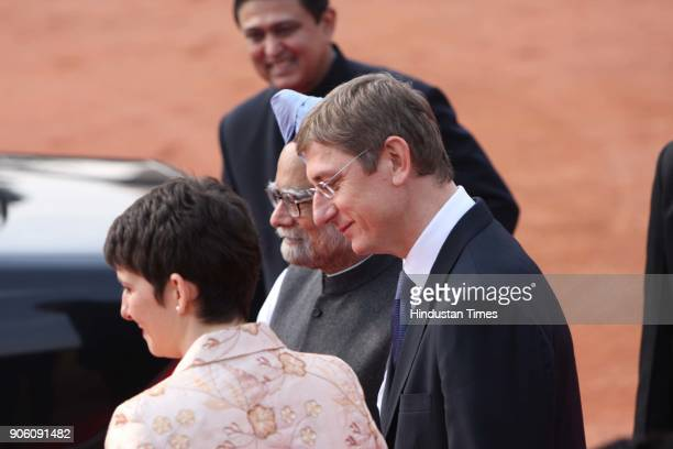 The Hungarian Prime Minister Ference Gyuresany along with his wife Klara Dobrev being welcomed by Indian Prime Minister Manmohan Singh during a...