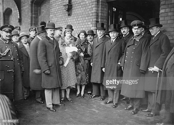 The Hungarian prime minister István Bethlen at his arrival in Berlin Anhalt Station Right Chancellor Heinrich Brüning and Foreign Minister Julius...