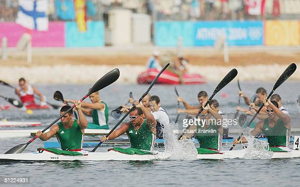 The Hungarian team of Zoltan Kammerer Botond Storcz Akos Vereckei and Gabor Horvath competes during the men's K4 class 1000 metre final on August 27...
